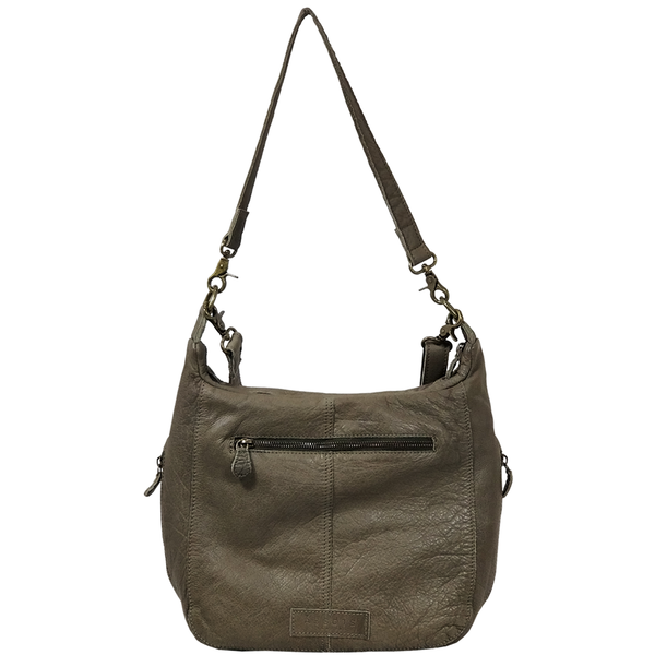 'JAMES' -  Olive Washed Vintage Leather Shoulder Bag