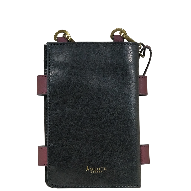 'SPADE' Black & Plum Vintage Leather Bifold Mini Crossbody bag