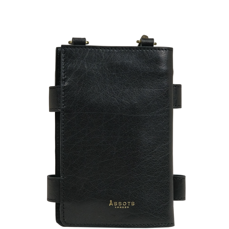 'SPADE' - Black Vintage Leather Bifold Mini Crossbody Bag