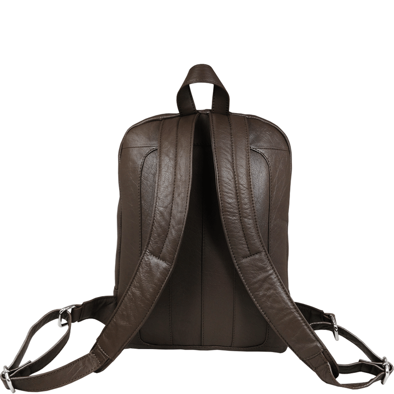 'BAKER' - Mokka Brown Full Grain Leather Double Zip Laptop Backpack