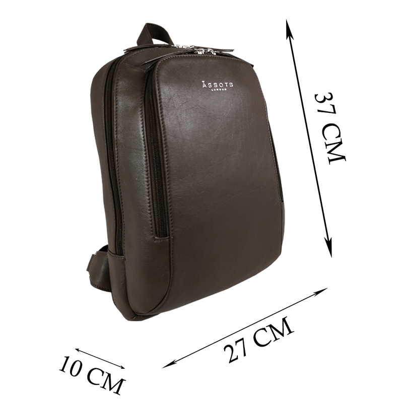 'BAKER' Mokka Brown Leather Double Zip Laptop Backpack