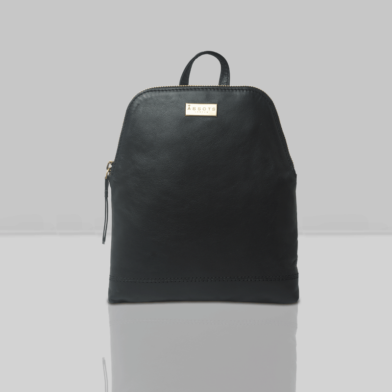 'BELLA' Black Mini Leather Lightweight Backpack