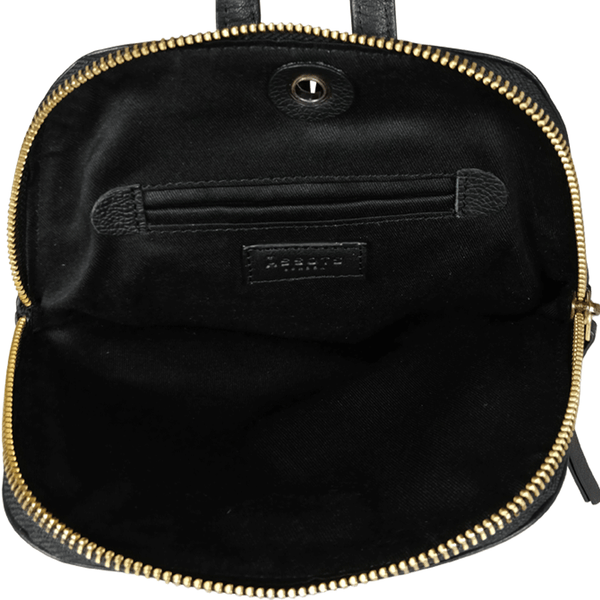 'BELLA' - Black Mini Leather Lightweight Backpack