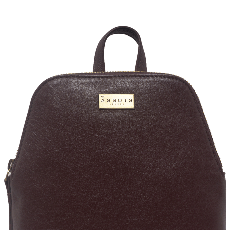 'BELLA' - Burgundy Mini Leather Lightweight Backpack