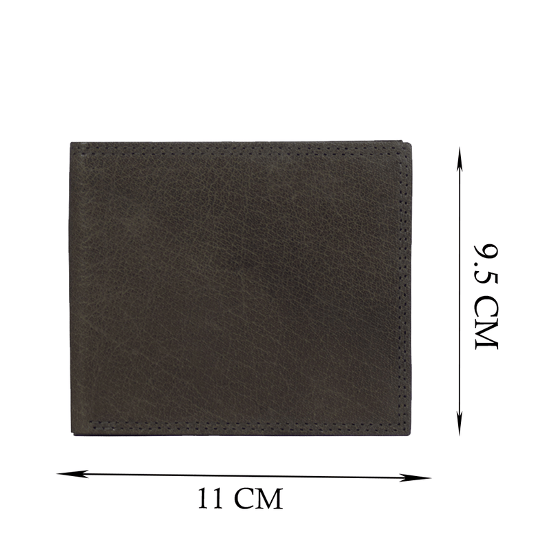 'BENNETT' Grey Bifold Vintage Leather RFID Blocking Wallet