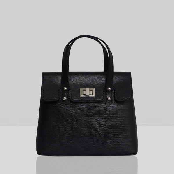 'Bentley' Black Lizard Designer Leather Mini Grab Bag