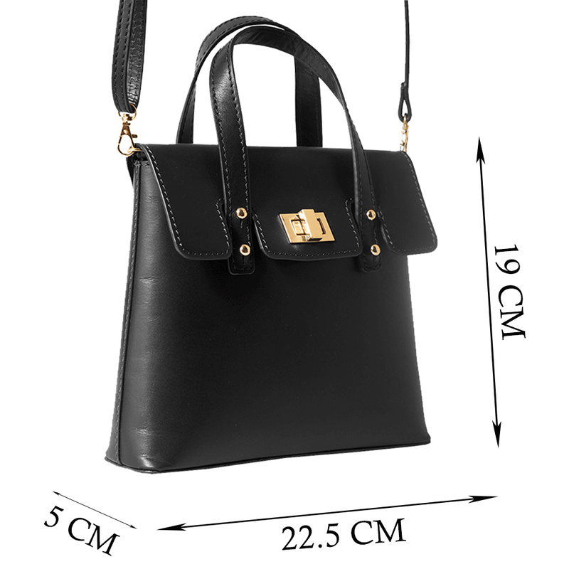 'Bentley' - Black Smooth Leather Mini Crossbody Sling Bag
