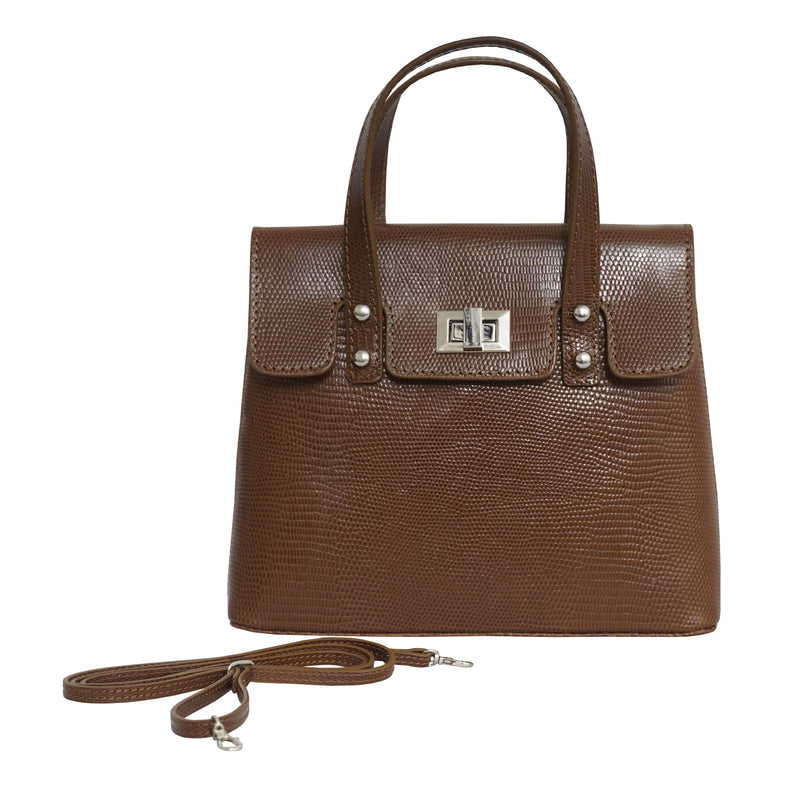 'Bentley' Tan Lizard Designer Leather Mini Grab Bag