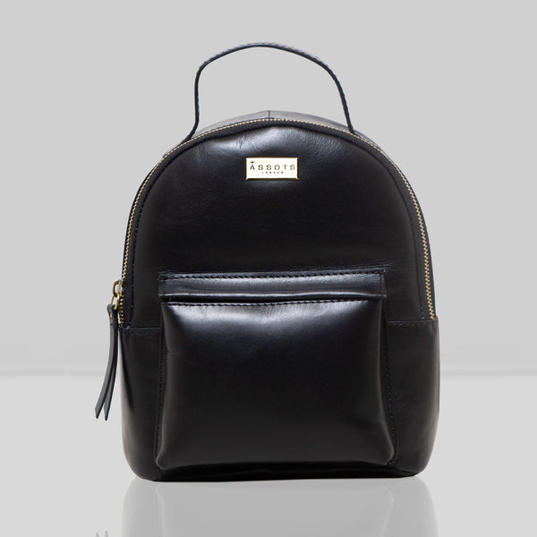 'Betty' Black Zip Top Mini Smooth Leather Backpack
