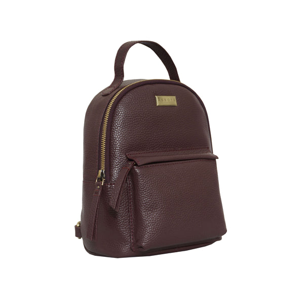 'Betty' Burgundy Zip Top Mini Pebble Grain Leather Backpack