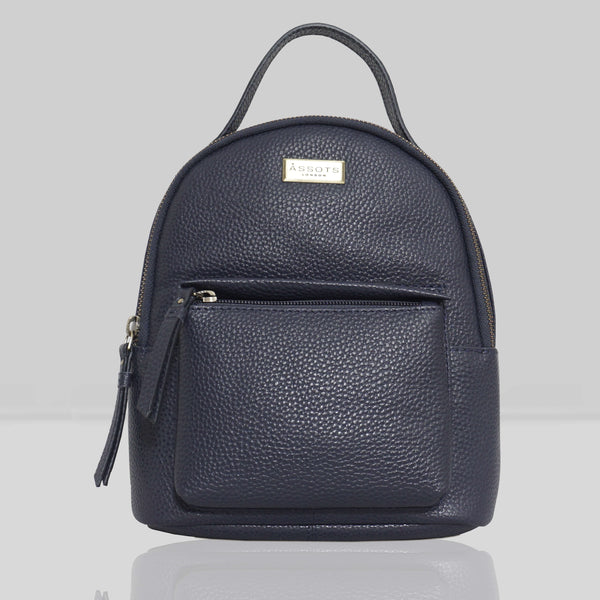 'Betty' Navy Zip Top Mini Pebble Grain Leather Backpack
