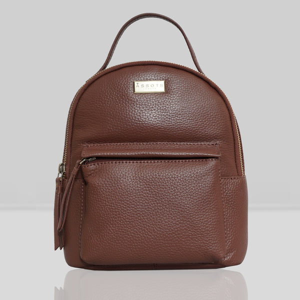 'Betty' Tan Zip Top Mini Pebble Grain Leather Backpack