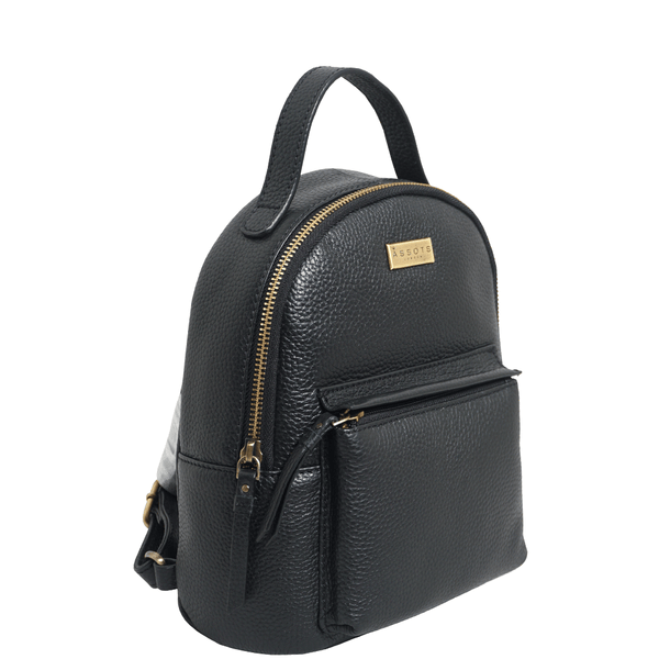 'Betty' Black Zip Top Mini Pebble Grain Leather Backpack