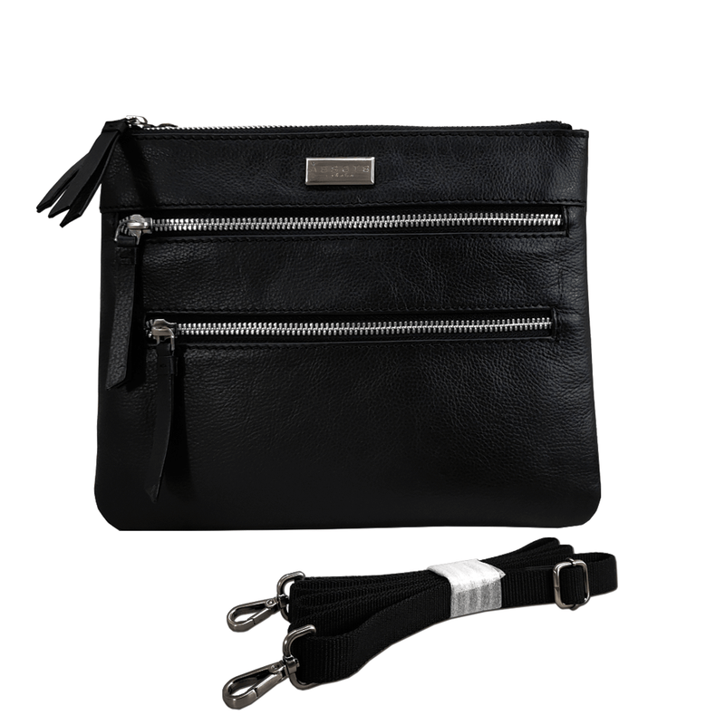 'WINDSOR' Black Nappa Leather Zip Top Crossbody Bag