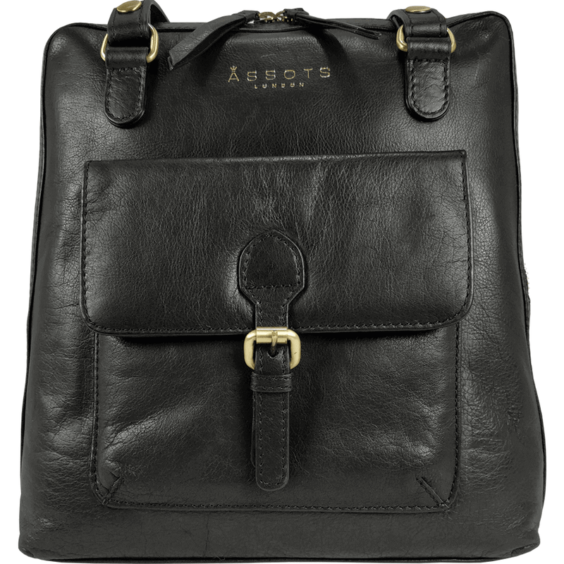 'BRENT' - Black Vintage Full Grain Leather Zip Around Backpack