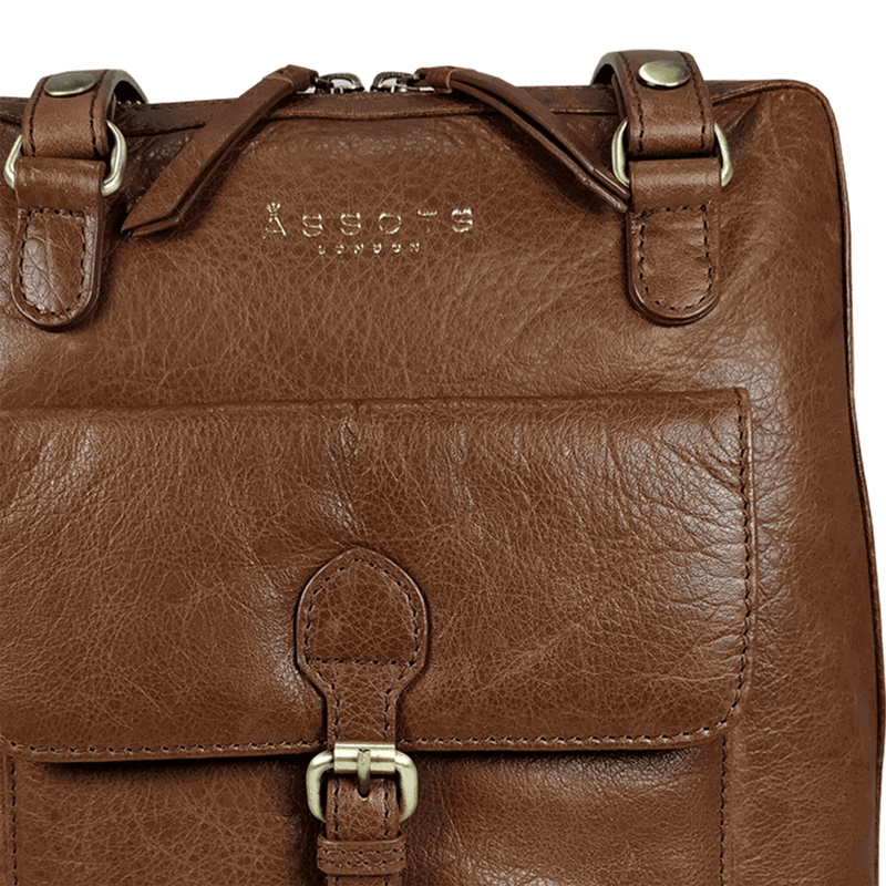 'BRENT' - Tan Vintage Full Grain Leather Zip Around Backpack