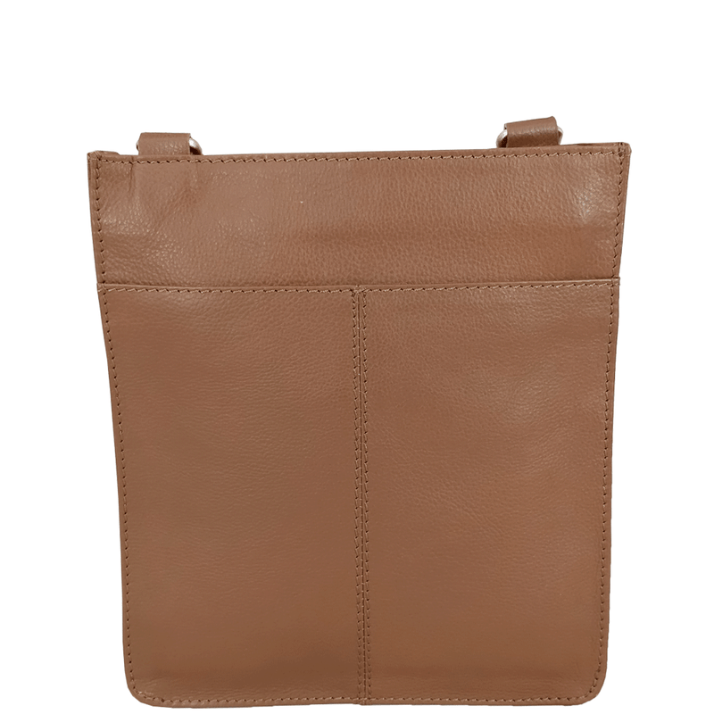 'BRYN' - Tan Nappa Pebble Grain Leather Crossbody Sling Bag