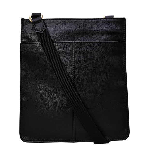 'BRYN' - Black Nappa Pebble Grain Leather Crossbody Sling Bag