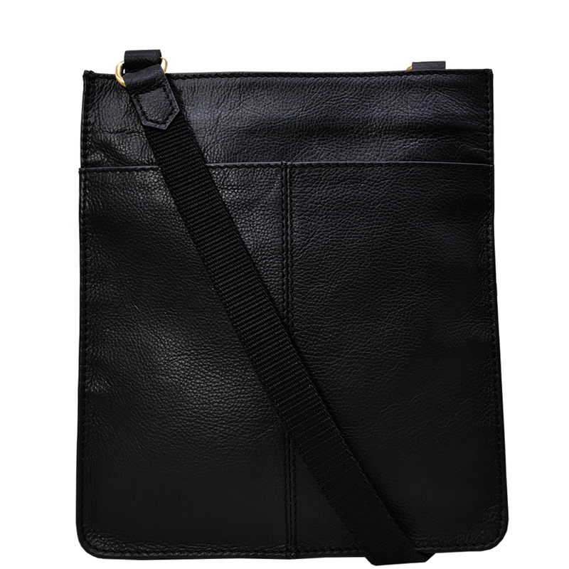 'BRYN' Black Nappa Pebble Grain Leather Crossbody Bag