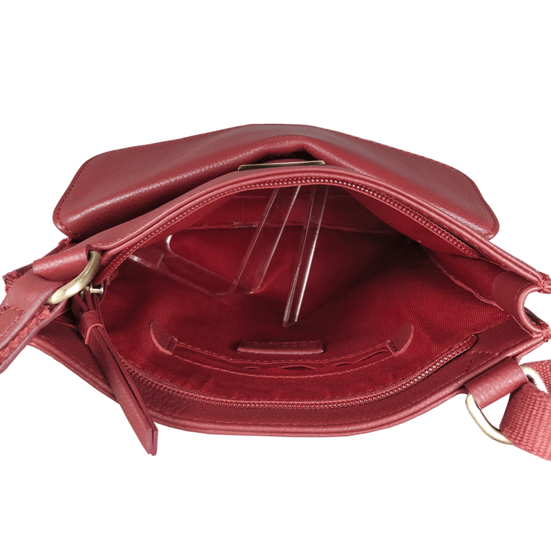'BRYN' Paprika Red Nappa Pebble Grain Leather Crossbody Bag
