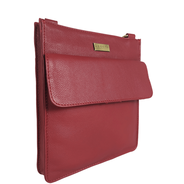'BRYN' - Paprika Red Nappa Pebble Grain Leather Crossbody Sling Bag