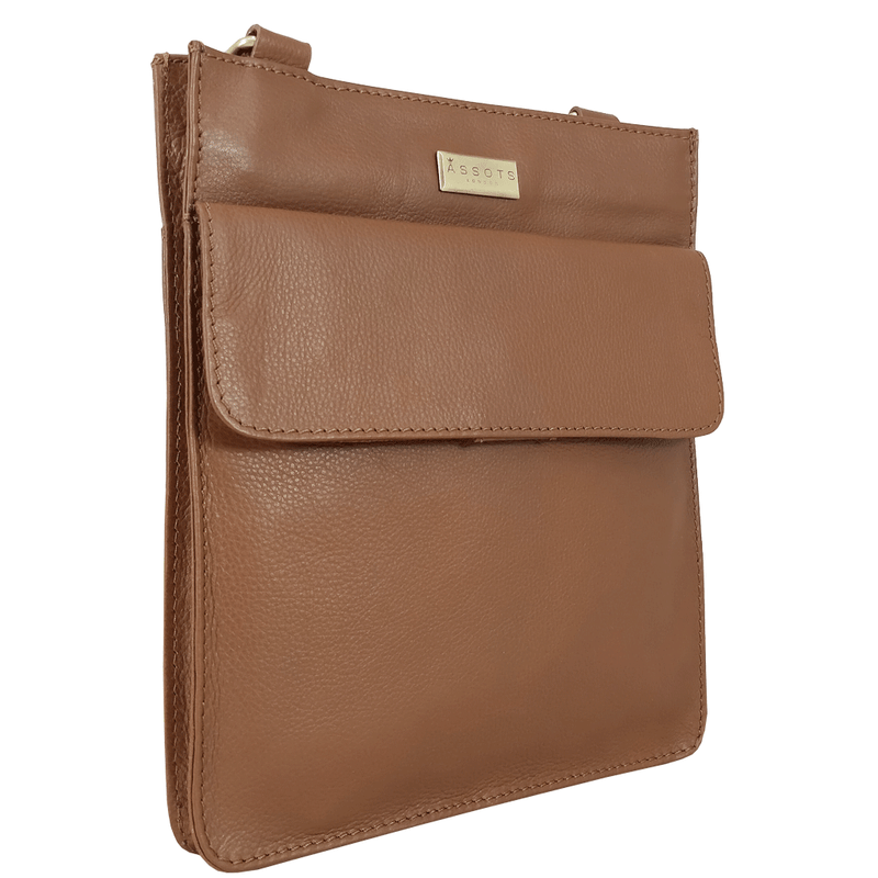 'BRYN' Tan Nappa Pebble Grain Leather Crossbody Bag
