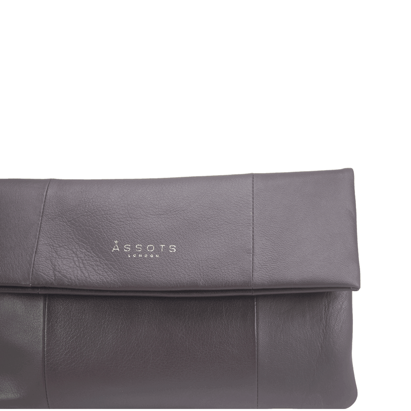 'CHELSEA' Burgundy Vintage Leather Flap-over Oversized Clutch Bag