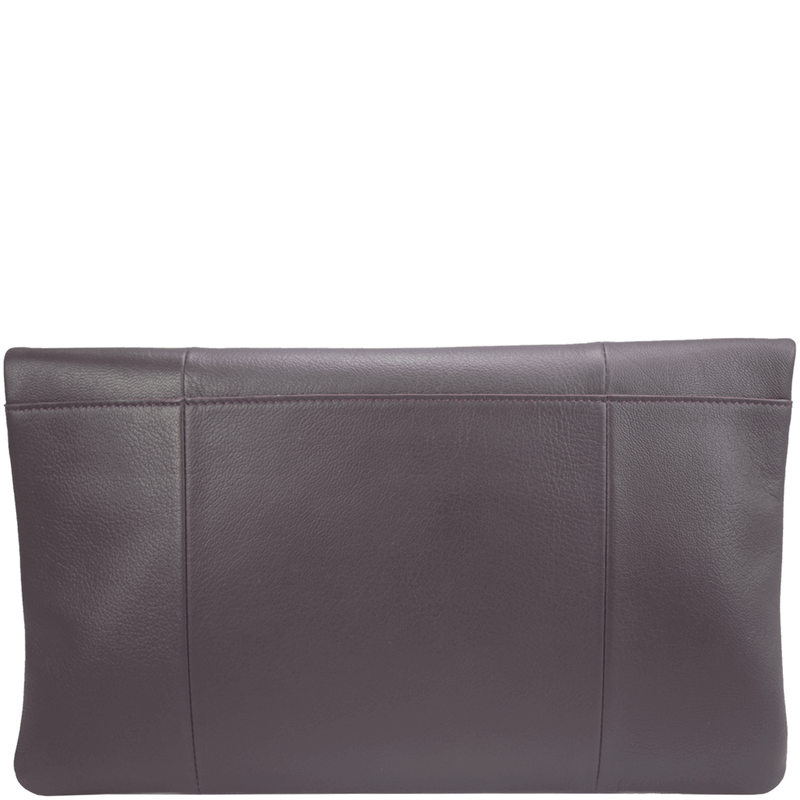 'CHELSEA' - Burgundy Vintage Leather Flap-over Oversized Clutch Bag