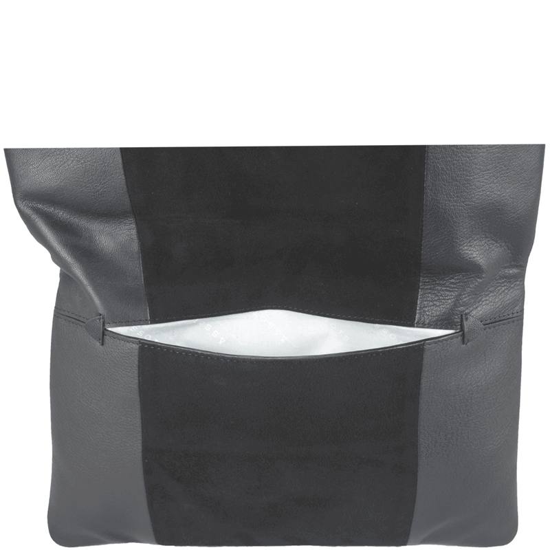 'CHELSEA' - Black Designer Leather Flap-over Oversized Clutch Bag