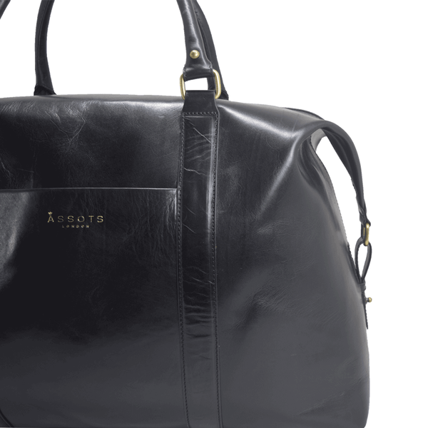 'CANNON' - Black Vintage Leather Large Weekender Bag