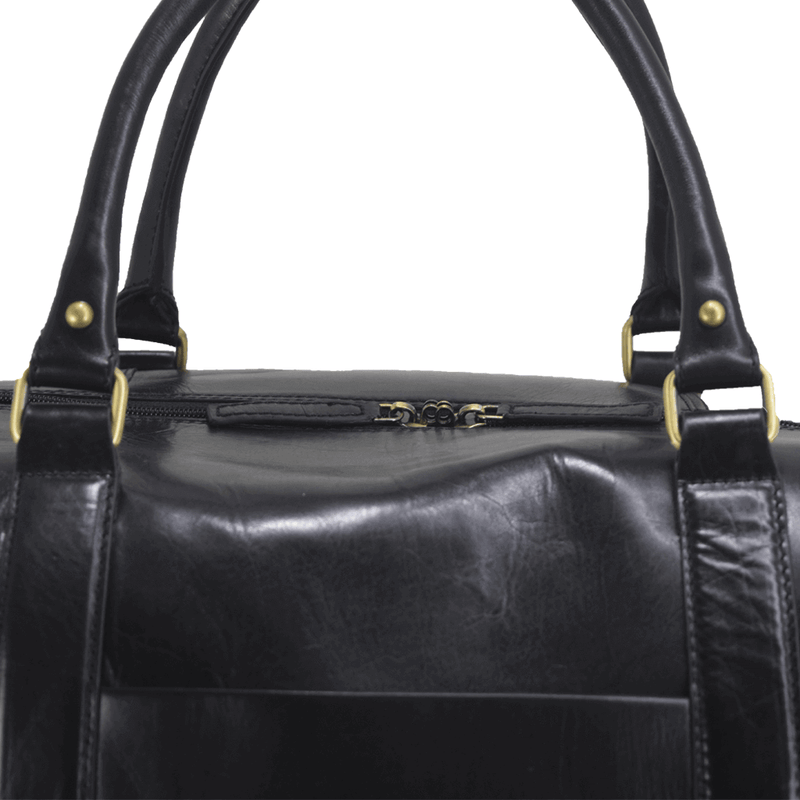'CANNON' Black Vintage Leather Holdall