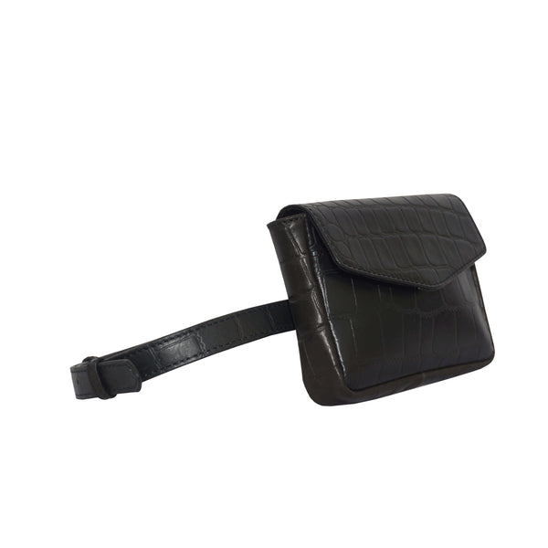 'CAMELLA' Black Croc Leather Bum Belt Waist Festival Bag