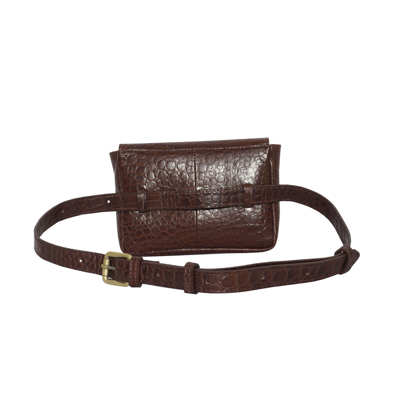 'CAMELLA' Brown Croc Leather Bum Belt Waist Festival Bag