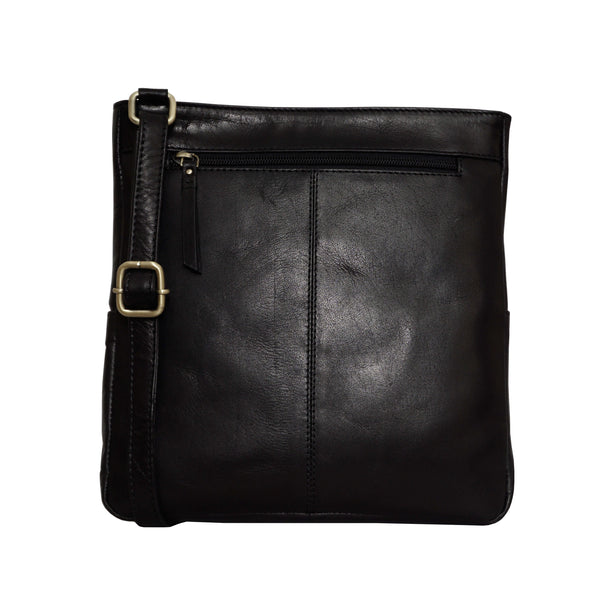'CANARY' Black Vintage Leather Crossbody bag