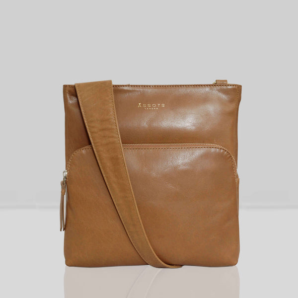 'CANARY' Tan Vintage Leather Crossbody bag