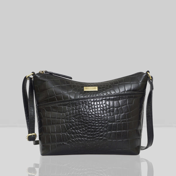 'CAROL' Black Vintage Croc Real Leather Designer Crossbody Shoulder Bag