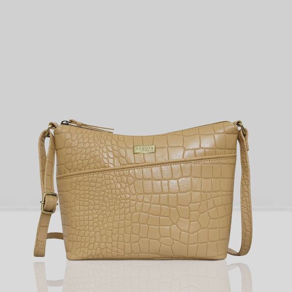 'CAROL' Camel Vintage Croc Real Leather Designer Crossbody Shoulder Bag