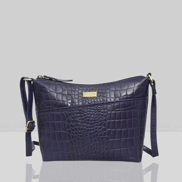 'CAROL' Navy Vintage Croc Real Leather Designer Crossbody Shoulder Bag