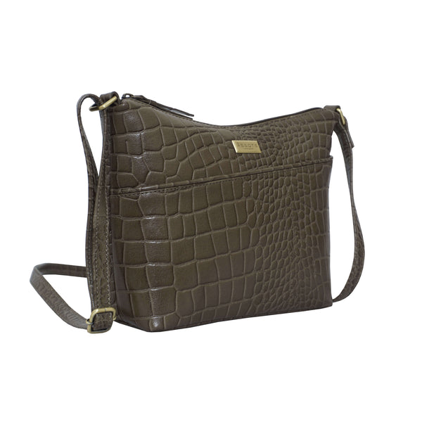 'CAROL' Olive Green Vintage Croc Real Leather Designer Crossbody Shoulder Bag