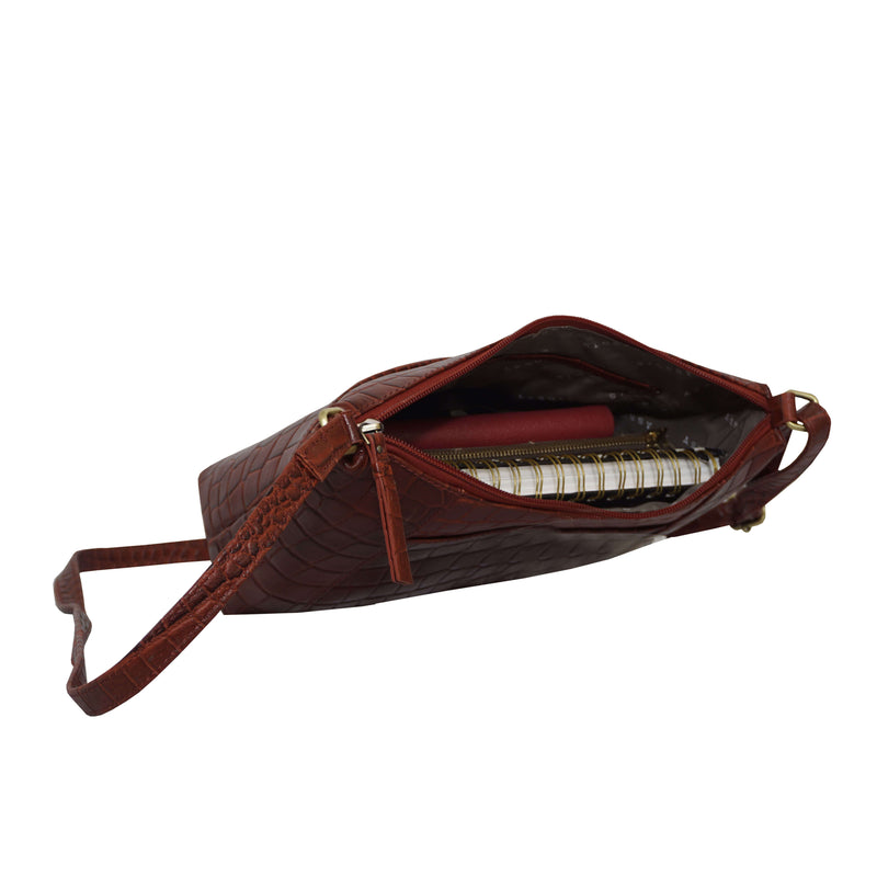 'CAROL' Red Vintage Croc Real Leather Designer Crossbody Shoulder Bag