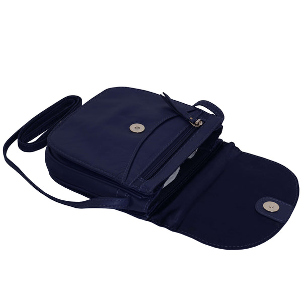'CATH' Blue Soft Real Leather Crossbody Sling Organiser Bag