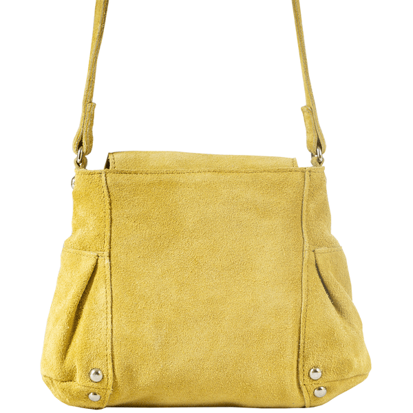 'CHESTER' - Yellow Designer Suede Leather Mini Crossbody Sling Bag