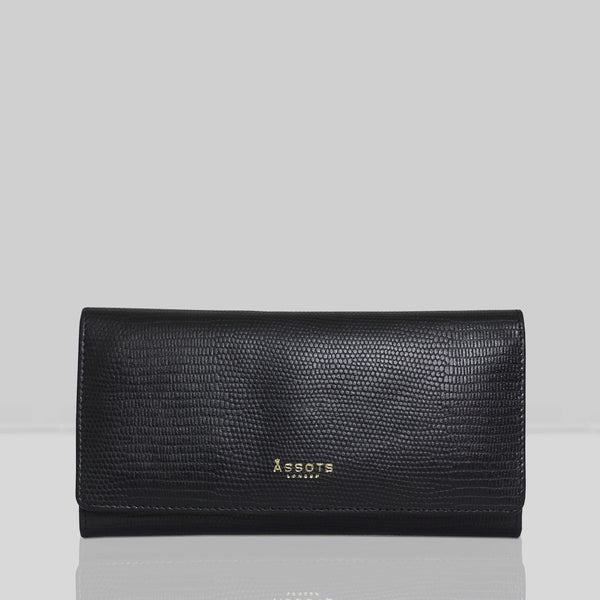 'CLAIRE' Black Lizard Designer Leather Flap Over Purse