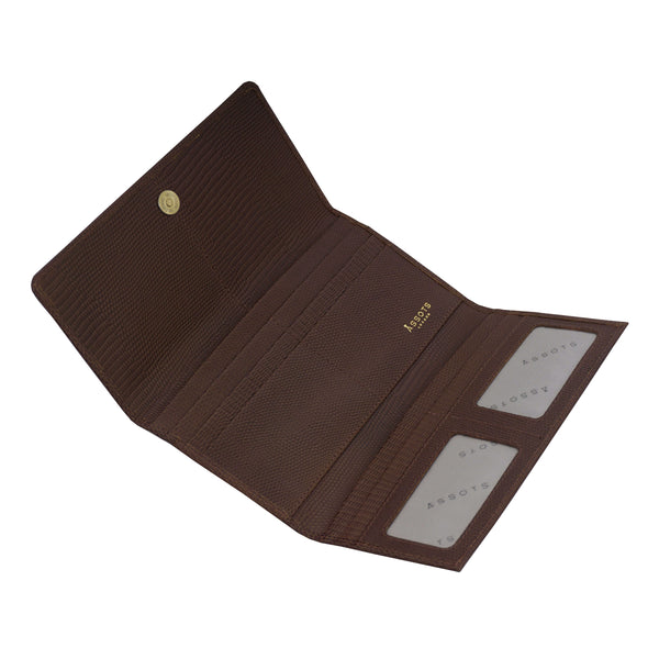 'CLAIRE' Brown Lizard Leather Flap Over Purse