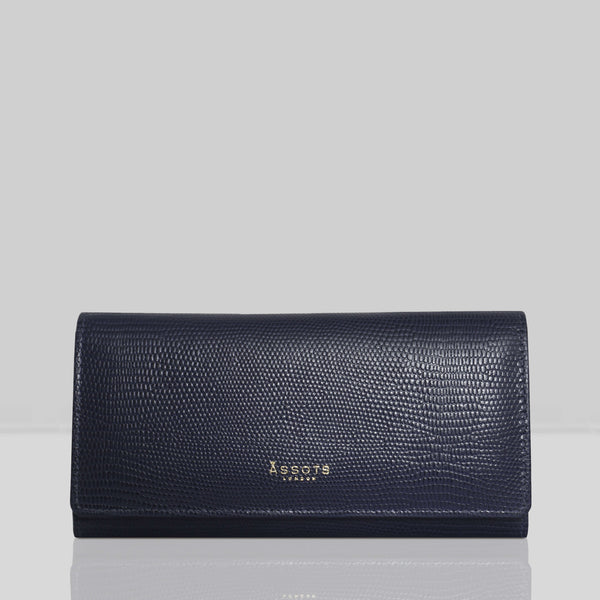 'CLAIRE' Navy Lizard Designer Leather Flap Over Purse