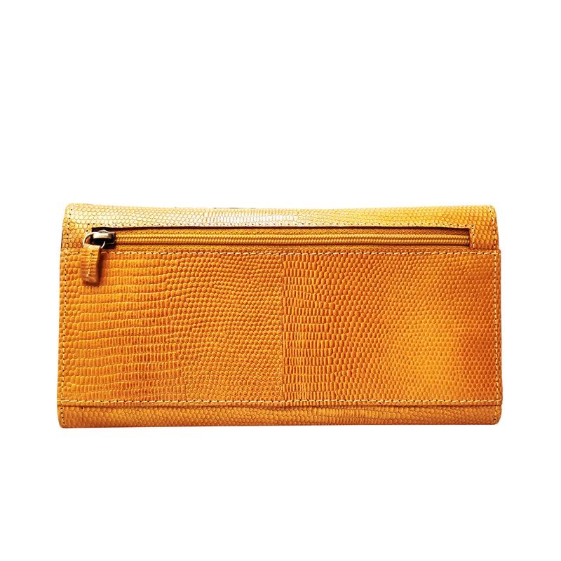 'CLAIRE' Ochre Lizard Leather Flap Over Purse