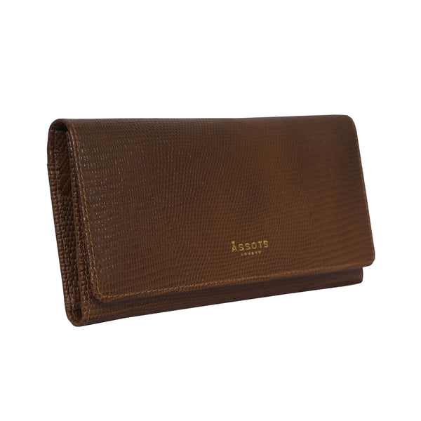 'CLAIRE' Tan Lizard Leather Flap Over Purse