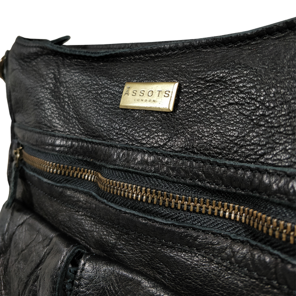 'WYNDRELL' - Black Washed Vintage Leather Shoulder Bag