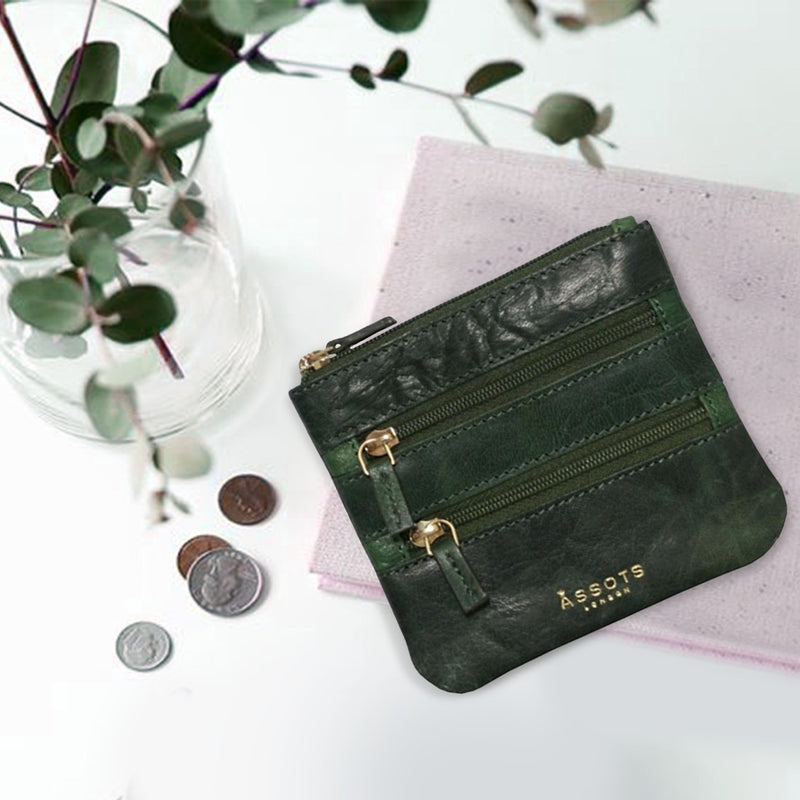 'LAURA' Tree Top Green Soft Small Zip Top Leather Coin Purse