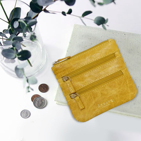 'LAURA' Yellow Soft Small Zip Top Leather Coin Purse